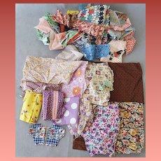 Vintage Fabric Sewing Quilt Scraps 1930s - 1940s Multi Colors