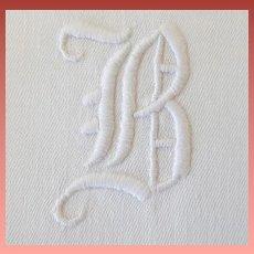 Luscious 1920s White Cotton Damask Napkins Monogram B