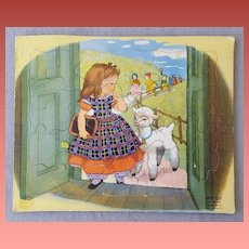 Vintage Children's Tray Jig Saw Puzzle Little Bo-Peep 1951