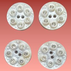 Four Wedding Cake Buttons with Rhinestones 1940s