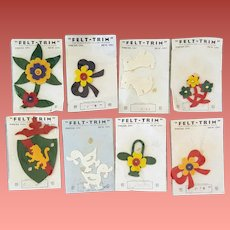 1930s -1940s Felt Appliques For Purses Hats Jackets 8 Pieces