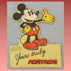 1930s Mickey Mouse Cardboard Cut Out Original