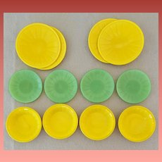 AKRO AGATE Slag Glass Children's Toy Dishes 12 Pieces