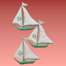 1940s Sailboat Appliques Embroidered Mint on Card DIY Sewing