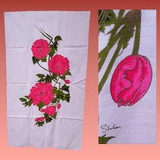 Alfred Shaheen Hawaii Fabric Double Panel Print Poppies