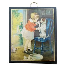Small 1930s Print Girl Playing Nurse with Dog and Doll