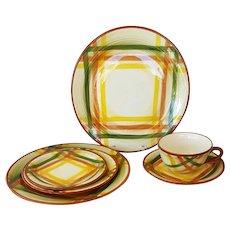 Vernon Kilns Homespun Plaid Dinner Ware 6 Pieces