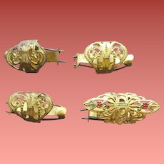 Four Antique Hair Barrettes Ribbon Clips Dated 1914
