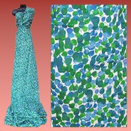 1960s Vintage Sewing Fabric Blue Green Silky Material 4 + Yards