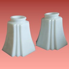 Vintage Art Deco Light Shades White Glass Fixtures