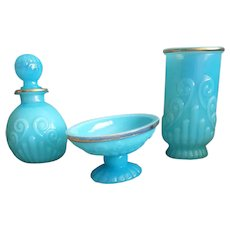 Gorgeous Bristol Blue Glass 3 Piece Vanity Set by Avon