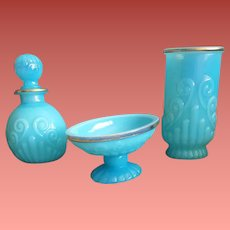 Gorgeous Bristol Blue Glass 3 Piece Vanity Set by Avon