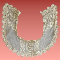 Antique Needle Lace Collar 1910 on Netting Net