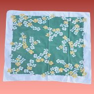 1950s Cotton Tablecloth Dogwood Flowers Tea Size