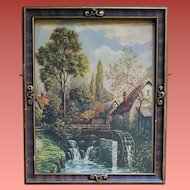 Antique Print Country Scene Cottage Fabulous Art Nouveau Frame