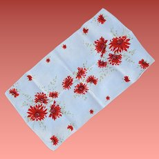 1970s Linen Towel Fabulous Red Flowers Mint