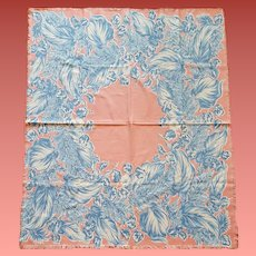 1950s Cotton Tablecloth Pink Blue Mid Century Entertainment