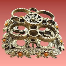 Footed  Ormolu Beaded Lipstick Holder Filigree Hollywood Regency
