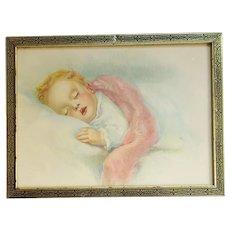 Vintage Art Print Baby Sleeping 1930s Framed