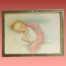 Vintage Art Print Baby Sleeping 1930s Framed