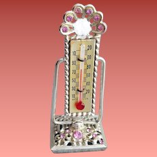 1960s Miniature Thermometer Rhinestone Fancy Vanity