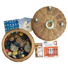 Chinese Sewing Basket Coins Jade Glass and Buttons