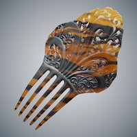 Large Vintage Hair Comb Spanish Style Faux Tortoise