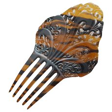 Large Classic Hair Comb Spanish Style Faux Tortoise