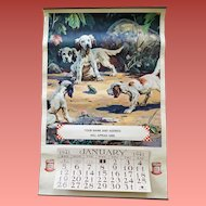 1941 Advertising Calendar Purina Hy Hintermeister Dogs Frog