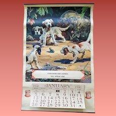 1941 Advertising Calendar Purina Hy Hintermeister Dogs Frog