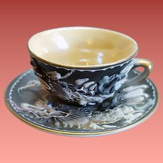 Miniature Moriage Dragonware Tea Cup with Saucer