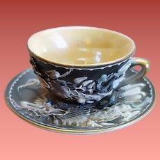 Miniature Moriage Dragonware Tea Cup with Saucer