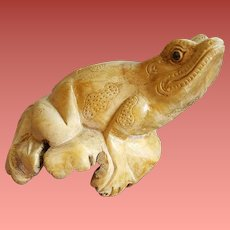 Unusual Natural Wood Burl with Hand Carved Frog