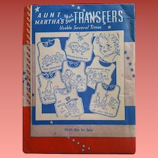 1940s Aunt Martha's Hot Iron Transfers Bibs for Baby #9546