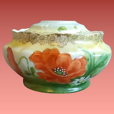 Hand Painted Hair Receiver Porcelain Prussia Poppies