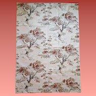 1950s Cotton Drapery Fabric Mid Century Modern Scenic Print