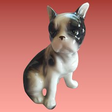 Boston Terrier Puppy Porcelain Figure Japan 1955
