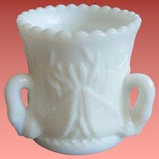 1950s Swan Milk Glass Vanity or Toothpick Holder Signed