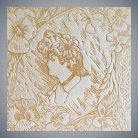 Antique Art Nouveau Vanity Box Beautiful Woman Pyrograph