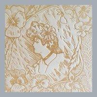 Antique Art Nouveau Vanity Box Gibson Girl Pyrograph