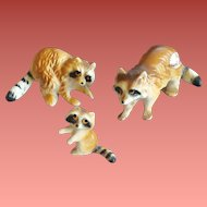Miniature Bone China Raccoon Family 1950s Japan