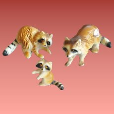 Miniature Bone China Raccoon Family 1950s Japan