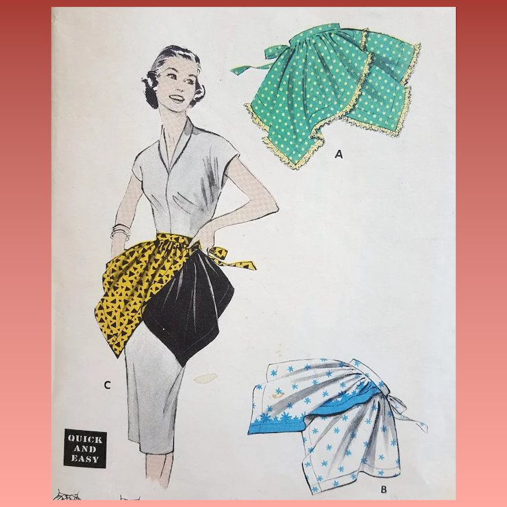 1960s Sewing Pattern 12 Apron Quick Easy 1 Yard Fabric Toinettes