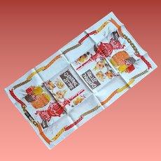 1970s Linen Kitchen Towel Country Motif MWT