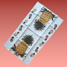 Linen Kitchen Towel Pineapples Mint with Tags