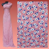 Vintage 1940s Rayon Blend Sewing Fabric Pink Blue