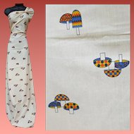 100% Cotton Sewing Fabric Mushrooms 1970s