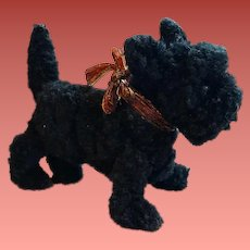 Small Wool Chenille Scottish Terrier for Doll or Doll House