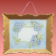 Unusual Porcelain Picture Gold Frame Forget-Me-Not