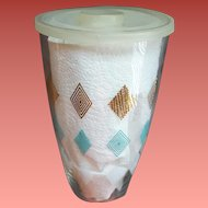 Glass Cocktail Shaker Diamonds Mid Century Modern